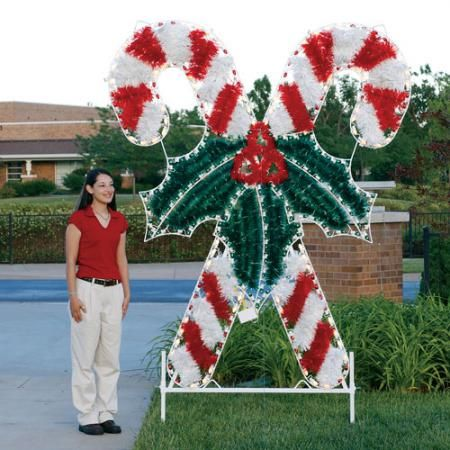 Candy Cane Outdoor Christmas Decorations Giant Crossed Candy Canes Led Light Display 83 Fth$159900