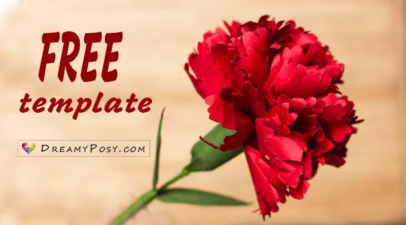 How to make Carnation paper flower, free template, easy #paperflowertutorial