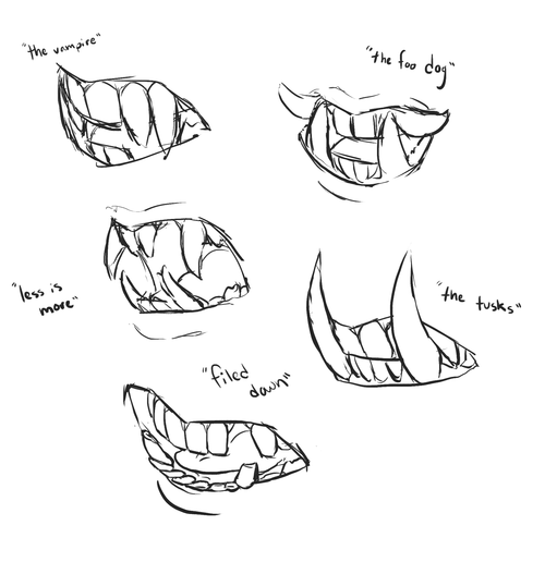 Sai Art Tutorials Anatoref Fangs Top Image Row 2 3 5 Right Art Reference Drawings Drawing Reference