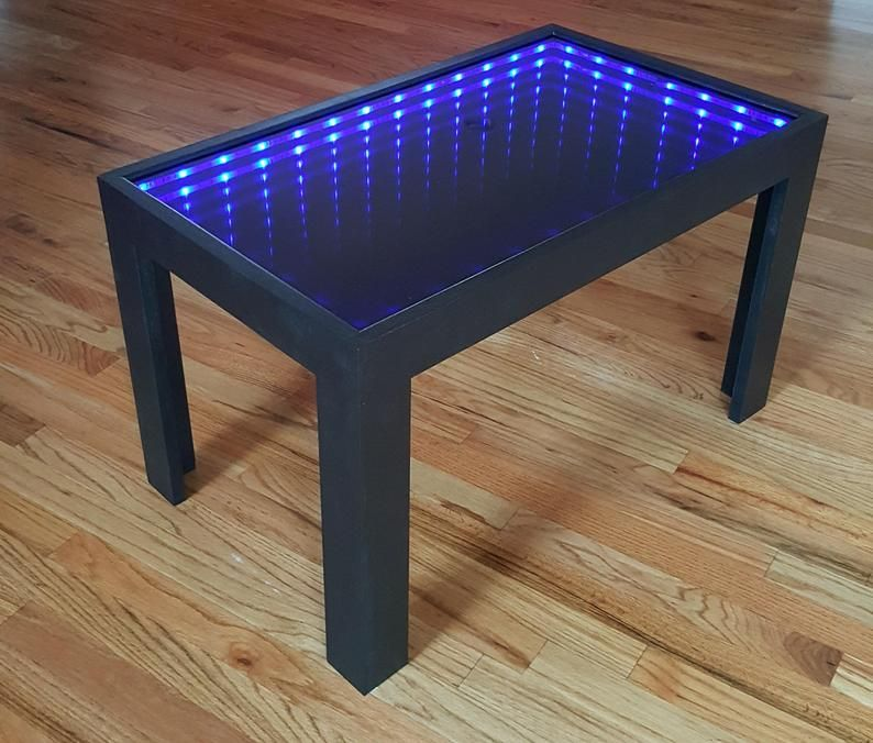 Black Coffee Table With Cool Illusion Lights Featuring Infinity