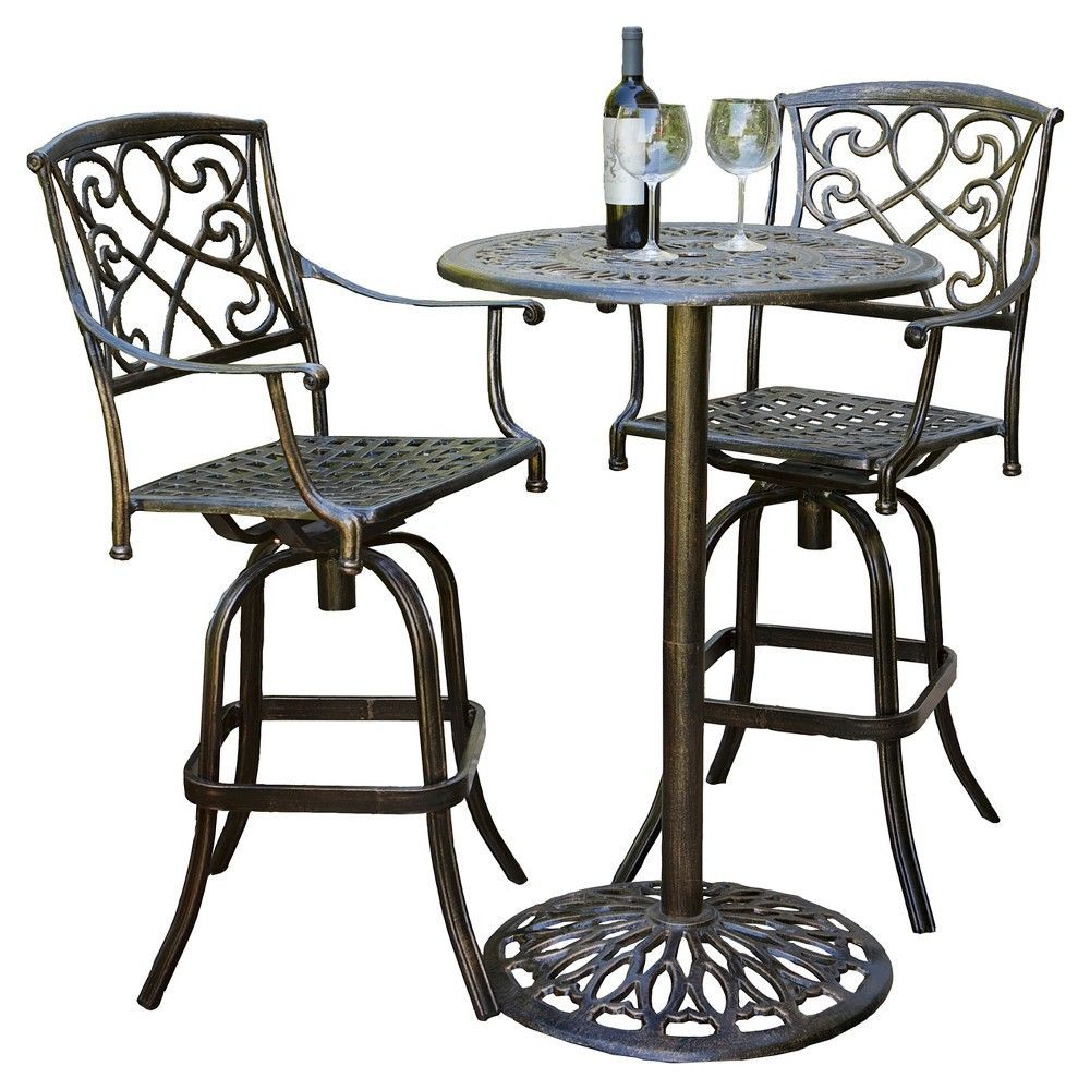 Santa Maria 3 Piece Cast Aluminum Patio Bistro Bar Set   Copper (Brown)    Christopher Knight Home