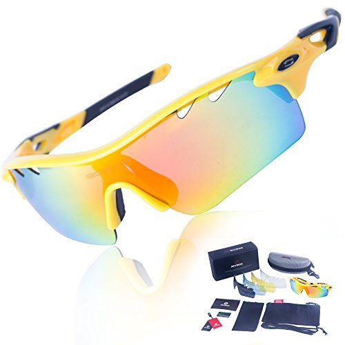 8c435f2eb86 RIVBOS TR90 801 POLARIZED Sports Sunglasses Glasses with 5 Interchangeable  Lenses (UpGrade TR Yellow Black) -  sunglasses