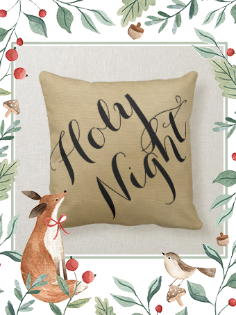 Christmas holiday silent night holy night linen throw pillow