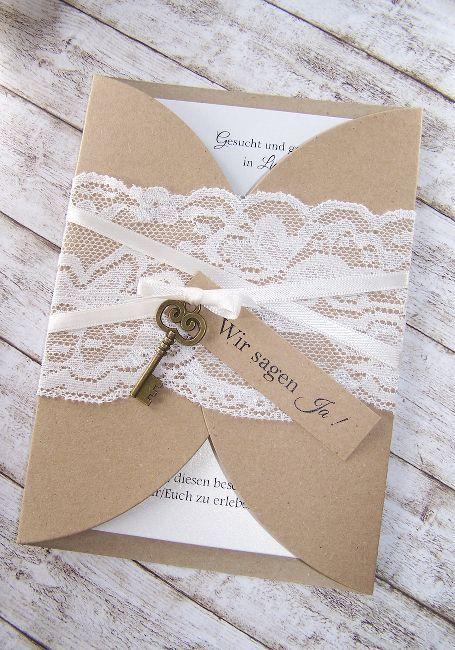Einladung Hochzeit Vintage Kraft – Spitze – Schlüssel   – Hochzeitskleid