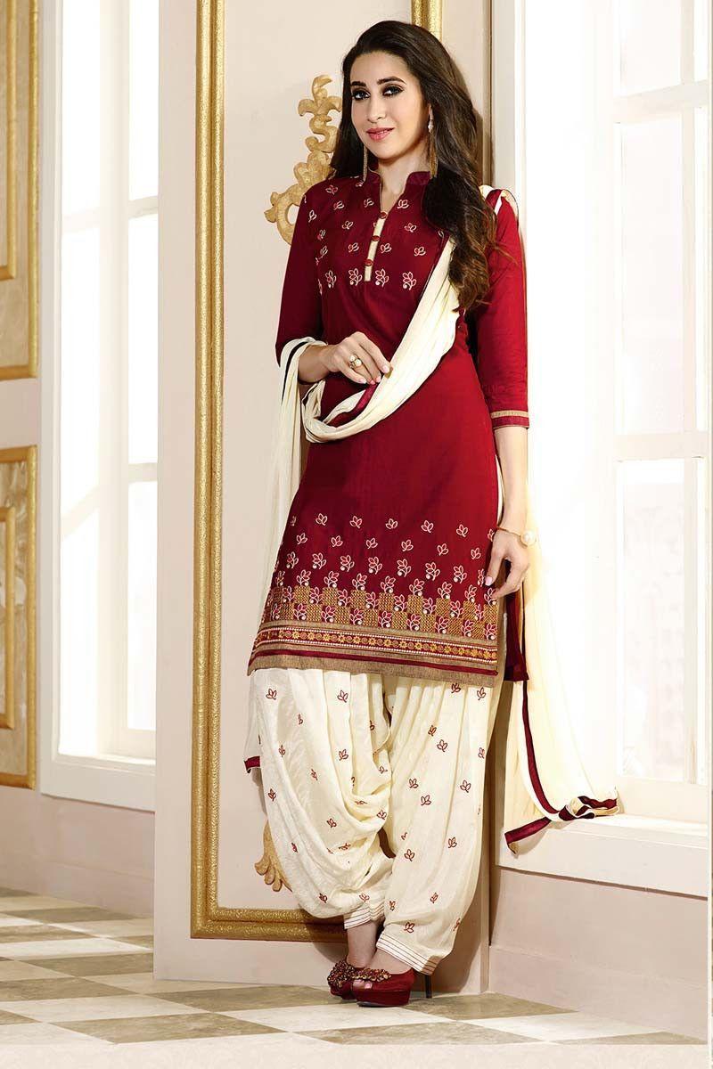 cdc4935fde Red Cotton Punjabi Suit | Suits I like | Patiala salwar, Salwar ...