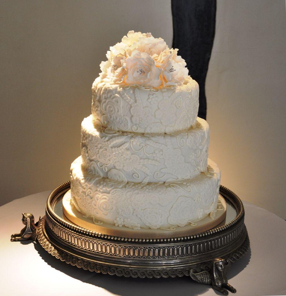 Ivory Peony Classic Vintage Wedding Cake