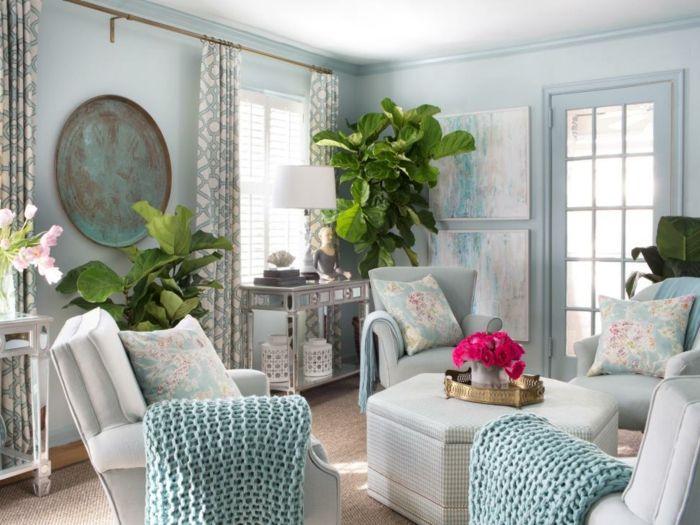 salones modernos saln clsico con paredes en azul sillones