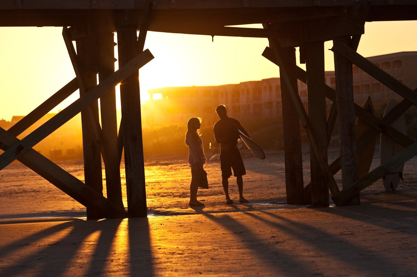 """""""Dear John"""" - Loved the really bright sun, and how the characters are framed by the wood bridge."""