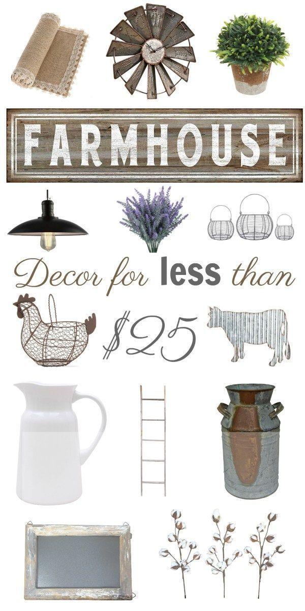 Farmhouse Decor for Less than 25 Country