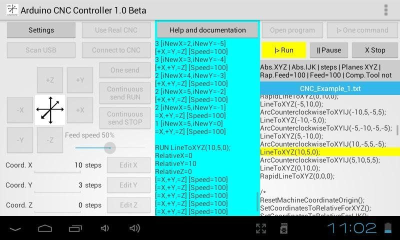 Arduino CNC Controller APP for Android 3 1 or greater to
