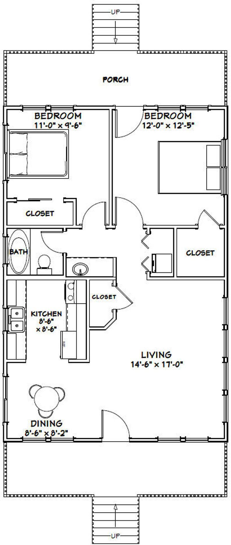 24x36 House 2 Bedroom 1 Bath 864 Sq Ft Pdf Floor Plan Etsy In 2020 Single Story House Floor Plans House Plans Floor Plans