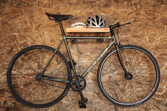 Handcrafted Bike Rack Made With Wood Plumbing Pipes By Tuyauxandco Diy Opportunity I Could Easily Make This Hanging Bike Rack Bike Rack Wall Bike Shelf