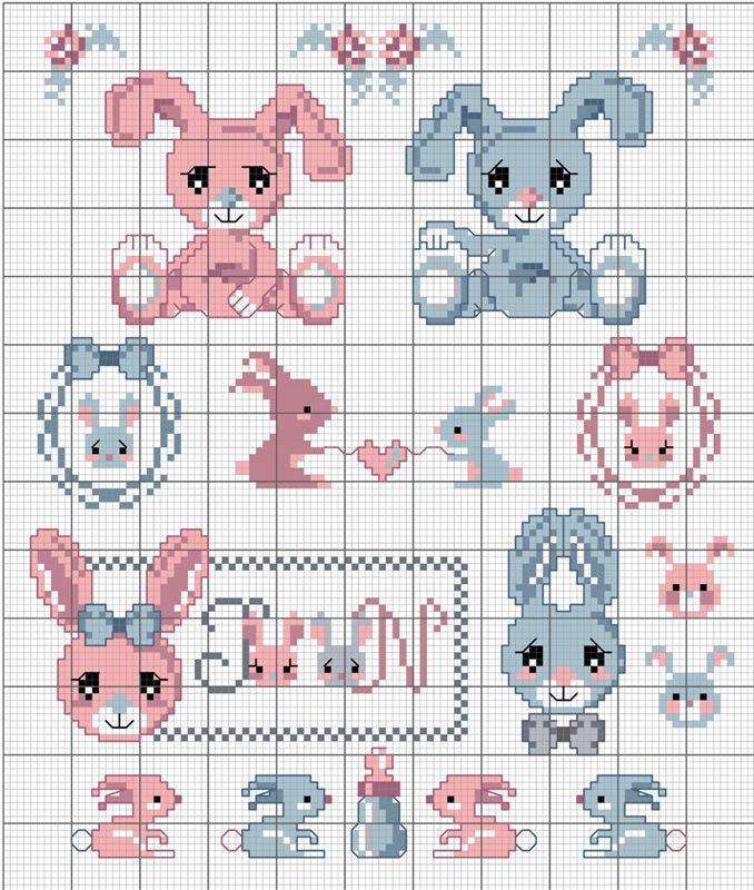 Des petits lapins...chez DMC...   Point de croix, Animaux ...
