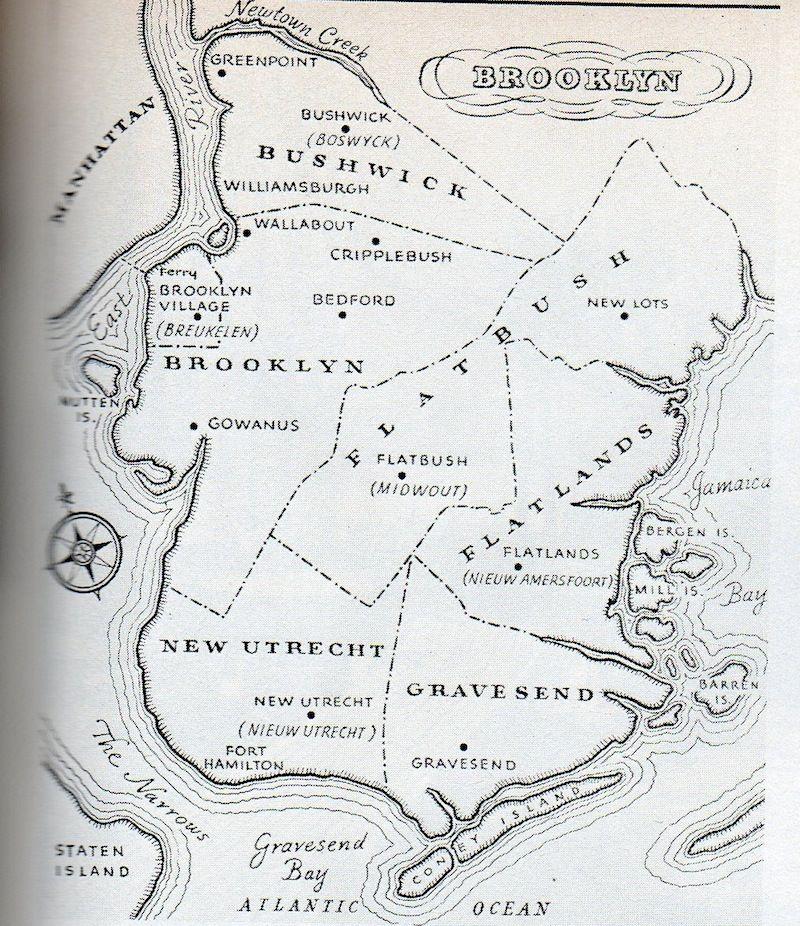 Map Of New York Towns.Brooklyn Original Six Towns Bushwick Brooklyn Flatlands Gravesend