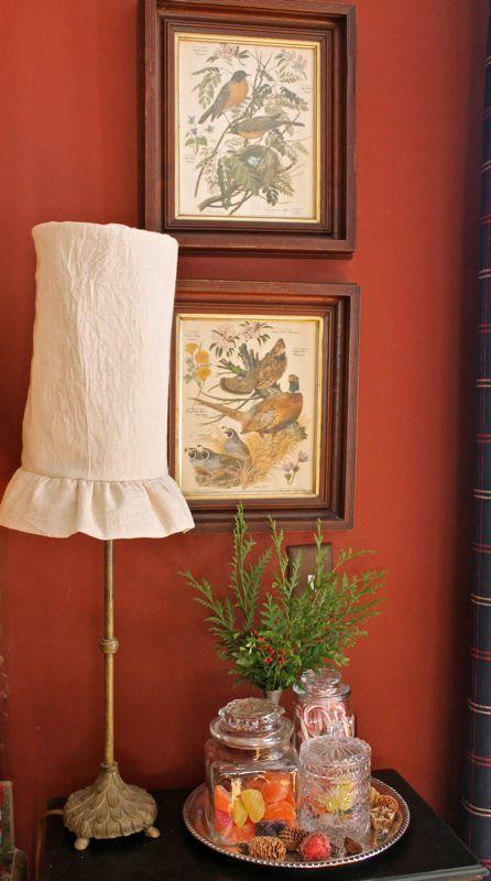 Feed sack lamp shade