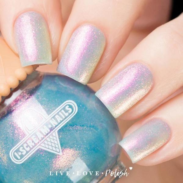 I Scream Nails Wonderworld is a sheer blue iridescent polish with ...