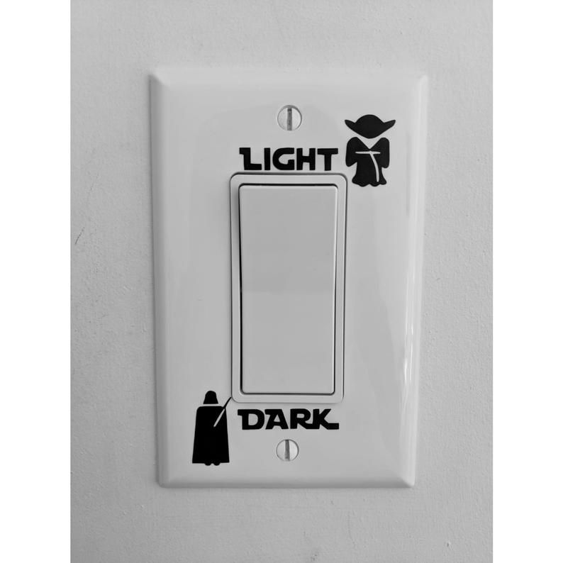 EPIC MODZ Light Side Dark Side Light Switch Vinyl Decal Sticker Child Room Lightswitch Wall Art Vader Yoda