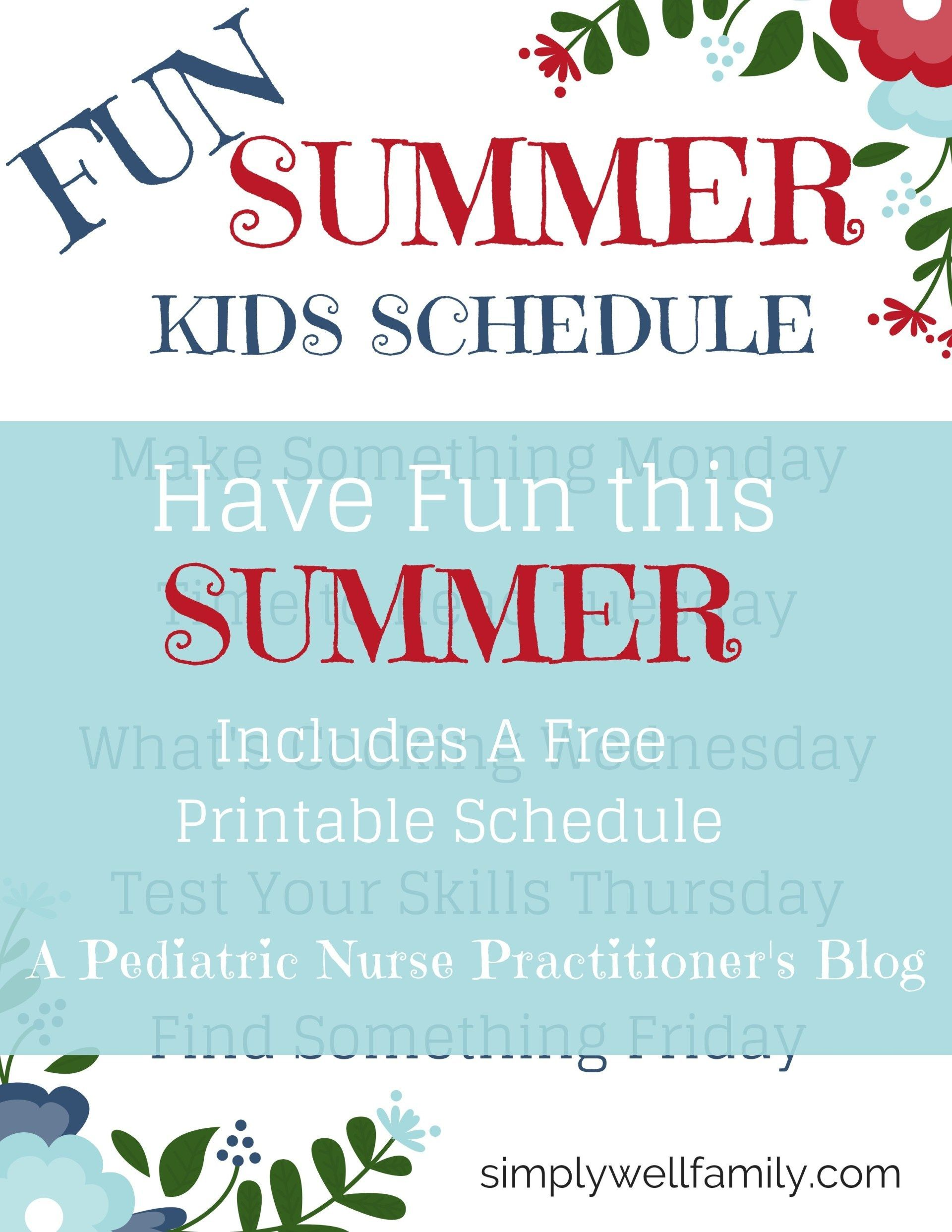 Summer Schedule for Kids - Simply Well Family #summerschedule Summer Schedule for Kids - Simply Well Family #summerschedule
