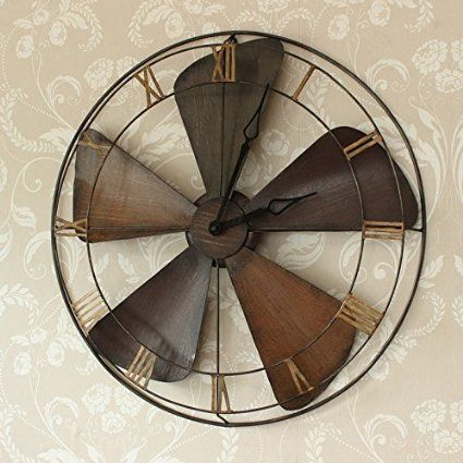 vintage style industriel ventilateur horloge murale d co. Black Bedroom Furniture Sets. Home Design Ideas