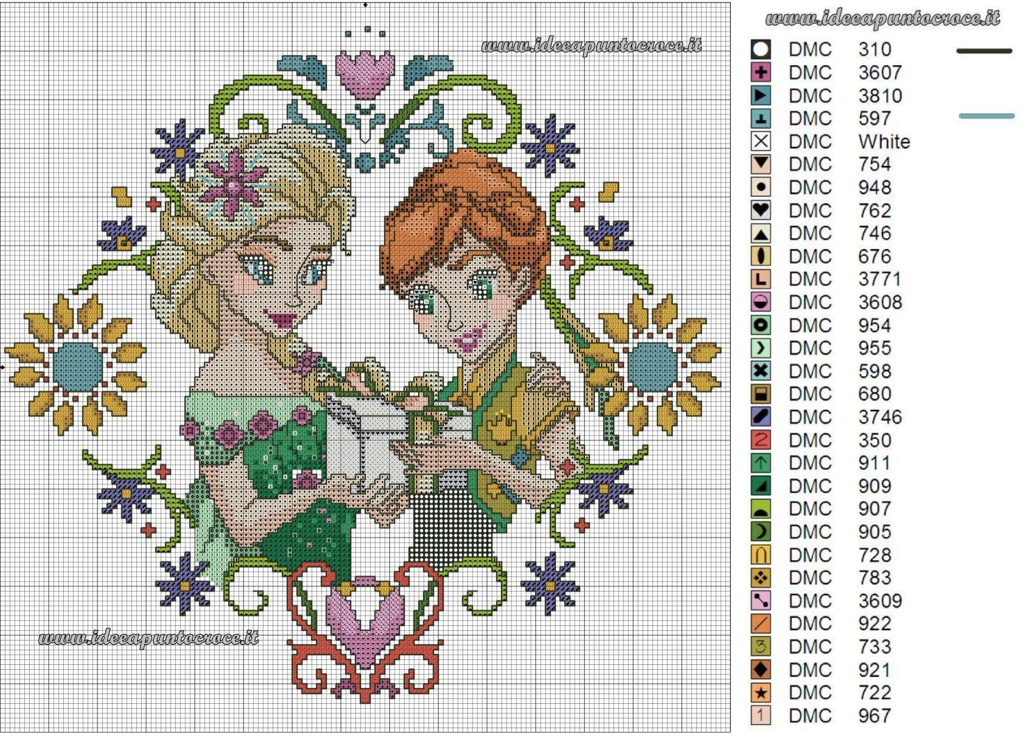 schema punto croce Elsa e Anna Frozen - Frozen Fever | Cross Stitch ...