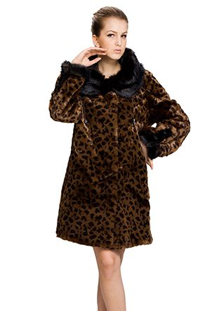 Winni/faux leopard print brown rabbit fur with black mink fur/middle fur coat from http://www.messcabuy.com/