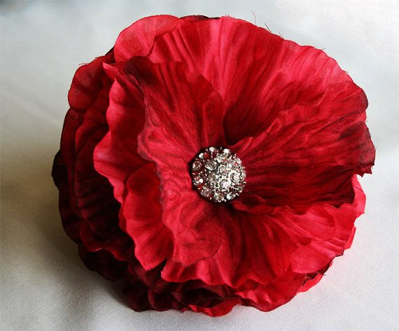 Deluxe Red Flower Fascinator by dixieheartless on Etsy, $15.00