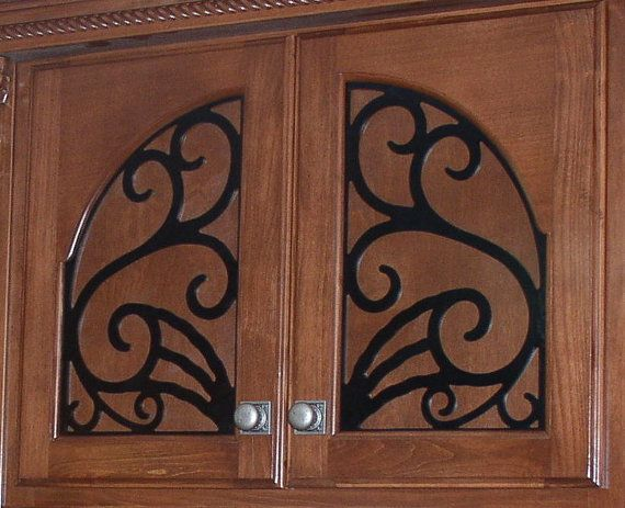 Miller Cabinet Door Panel Insert In Decorative Iron Available Copper And Stainless