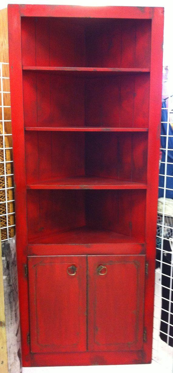 Red Black Corner Book Shelf Cabinet By