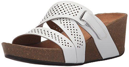 Clarks Women's Auriel Bright Wedge Sandal, White, 8.5 M US -- You can