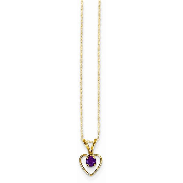 14k Gold 3mm Amethyst Heart Birthstone Necklace ($52) ❤ liked on Polyvore featuring jewelry, necklaces, amethyst heart necklace, gold heart necklace, 14k gold jewelry, 14 karat gold necklace and 14k necklace