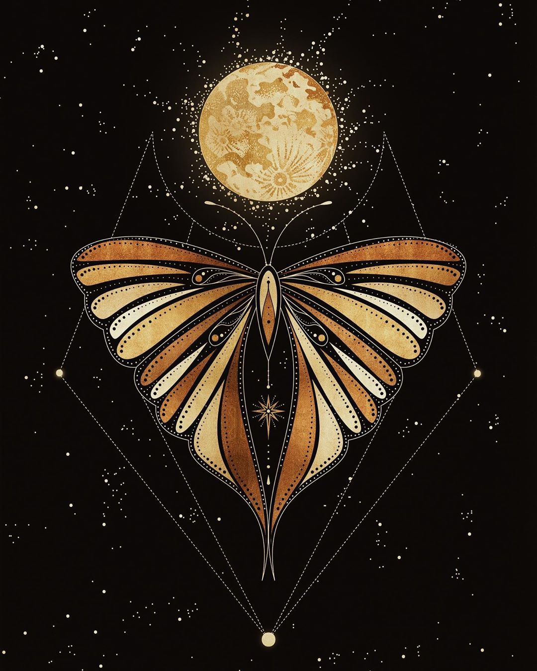 Full Moon Butterfly Gold Foil Art Print By Cocorrina Design Studio Celestial Art Moon Art Mystical Art