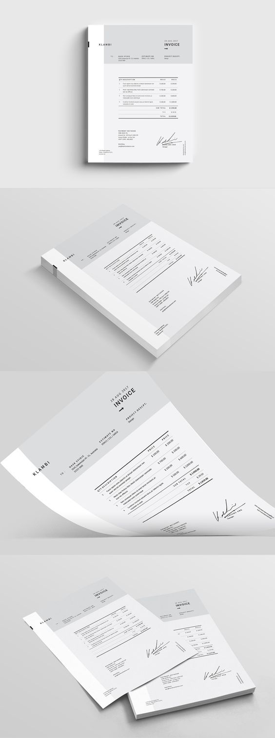 Fashion Invoice Template InDesign INDD | Graphic design business ...