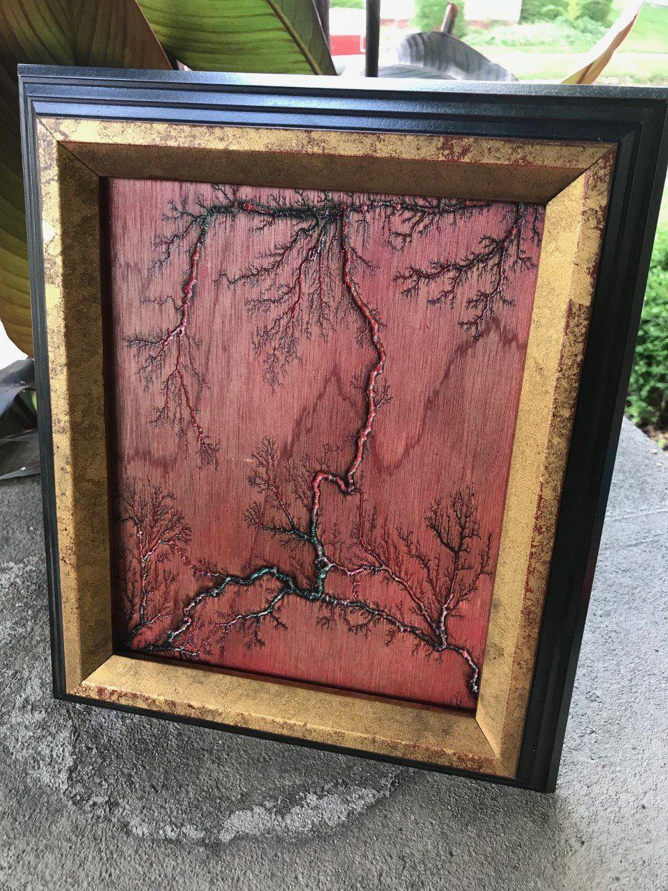 Framed Lichtenberg Wood Burning With Acrylic Inlay Pyrography Art Wood Art Wood Burning