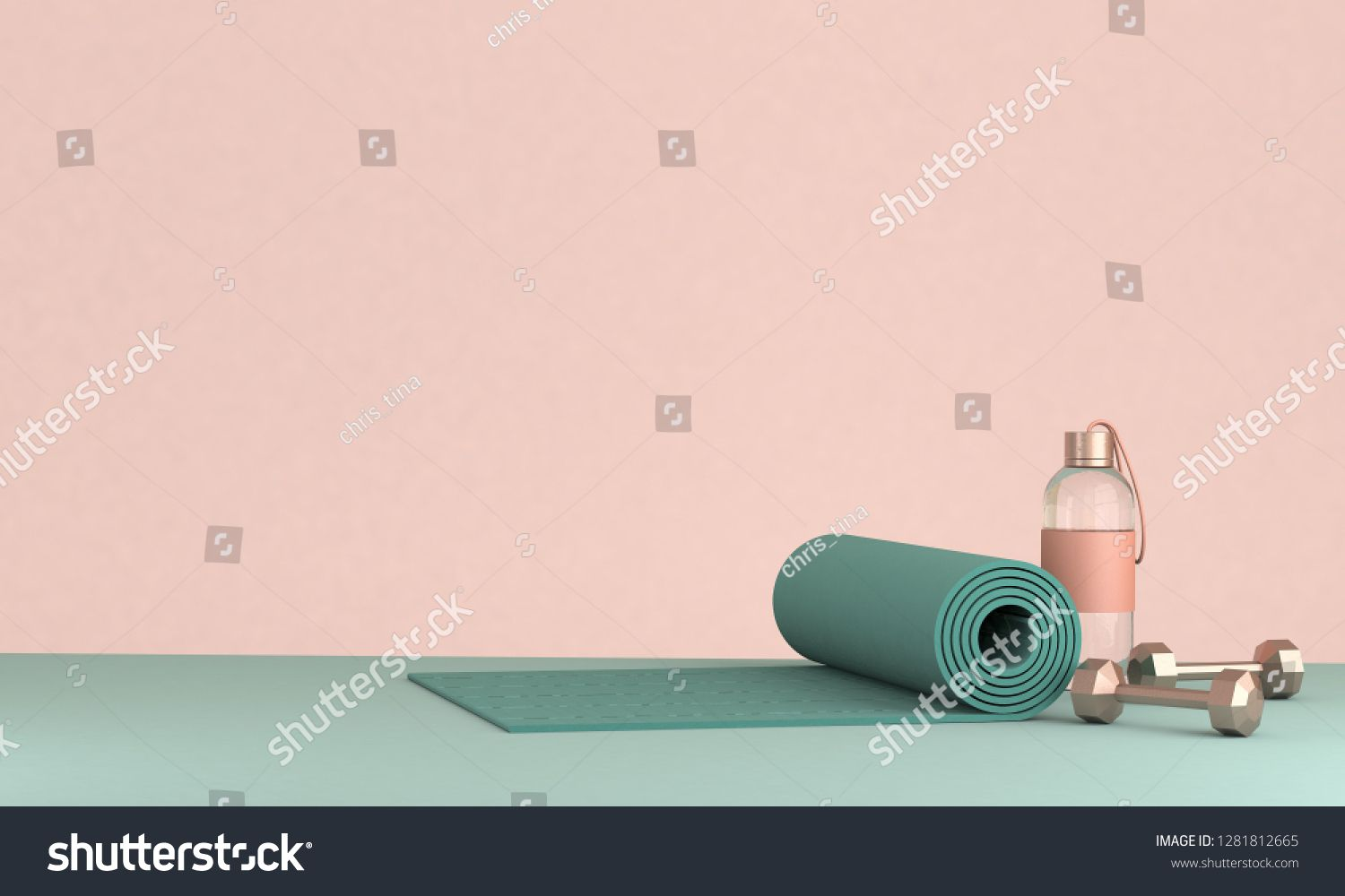 3D render illustration, sport fitness equipment, female concept, yoga mat, bottle of water, dumbbell...