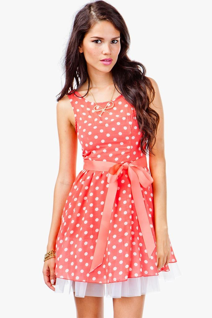 Poofy Dot Flare Tulle Dress L in Green