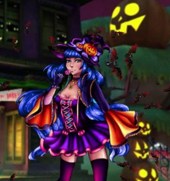 Essa menina está muito ansiosa para à noite de Halloween. Ela já sabe que ela vai vestir-se como uma fantasia de bruxa.