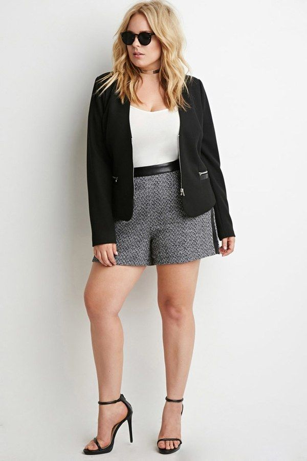 Forever 21 Plus Size Faux Leather Trimmed Tweed Shorts Curvy
