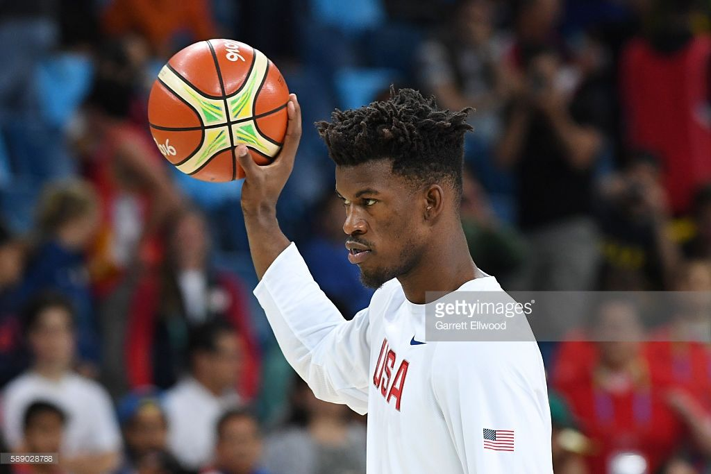 Jimmy Butler #4 of the USA Basketball Men's National Team warms up before the game against Serbia on Day 7 of the Rio 2016 Olympic Games at Carioca Arena 1 on August 12, 2016 in Rio de Janeiro, Brazil.