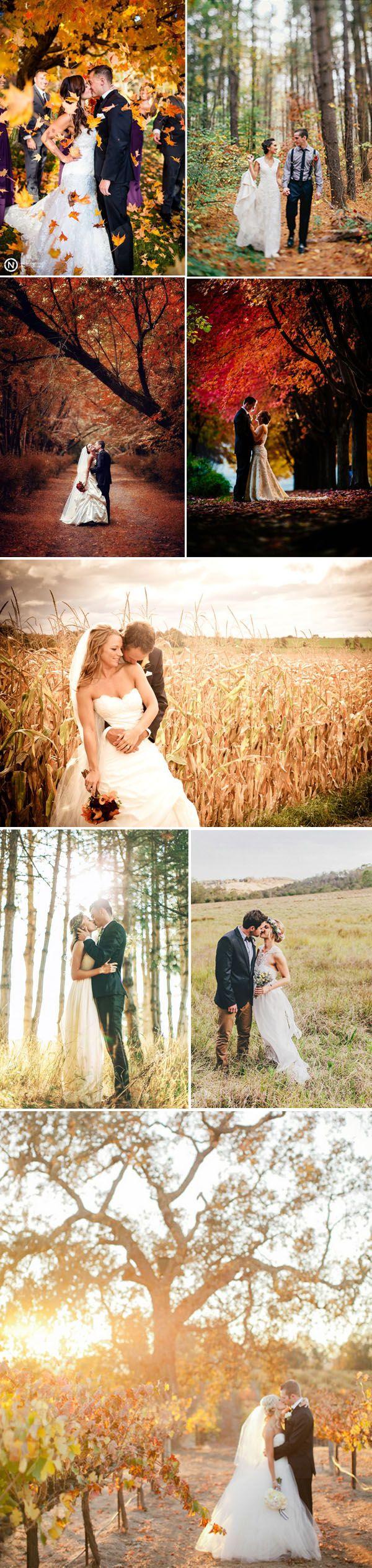 gorgeous autumn season wedding photo ideas