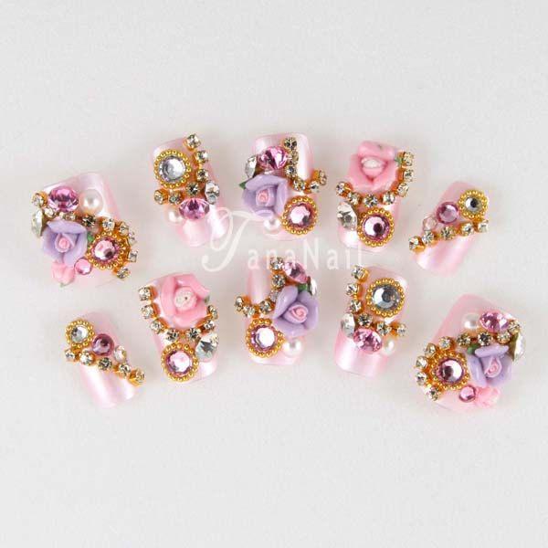 Japanese 3D Nail Art, Press On Nails, False Nails - Beautiful Pearl ...