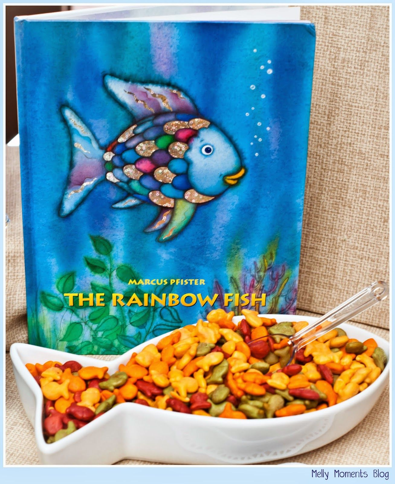 A storybook themed baby shower the rainbow fish and for Baby fish food