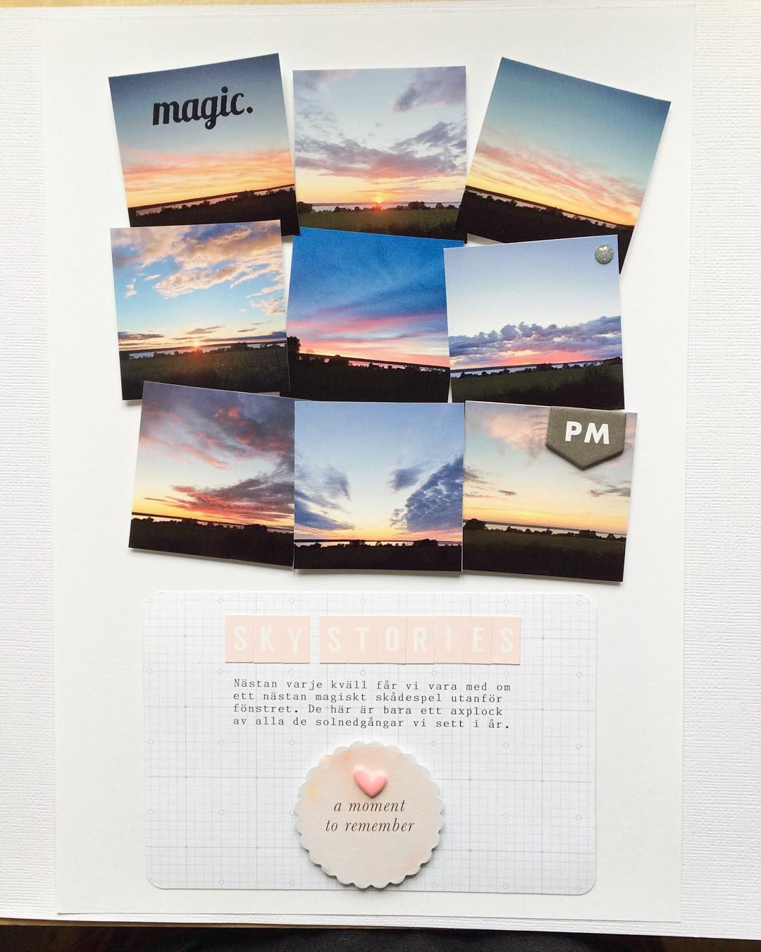 """""""Tada! Here is my #scrapbooking page for @turquoiseavenue #hashtagthisweek prompt """"Sky stories"""" I have mention my lovely fiancé took all of the photos …"""""""