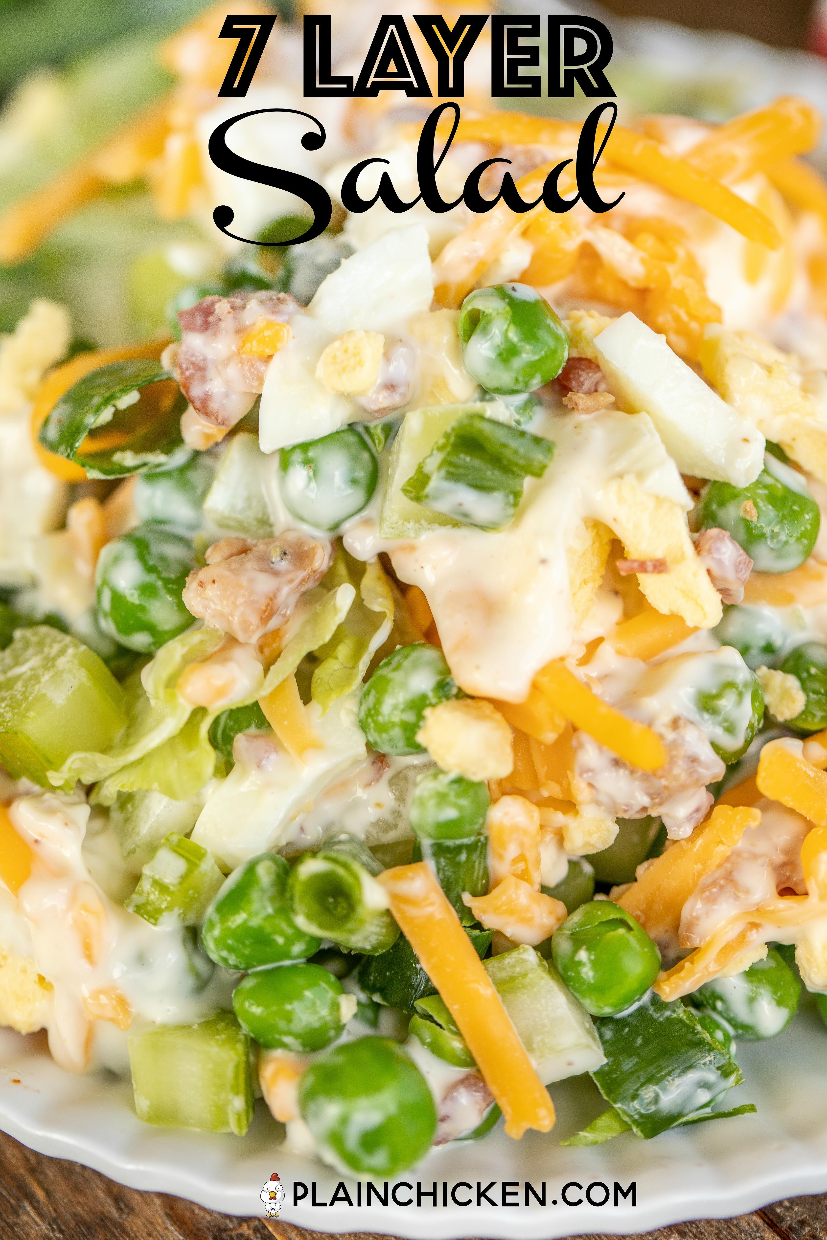 7 Layer Salad Recipe A Classic Recipe Layers Of Lettuce Green Onions Celery Green Peas Hard Boiled Egg Layered Salad Recipes Layered Salad 7 Layer Salad
