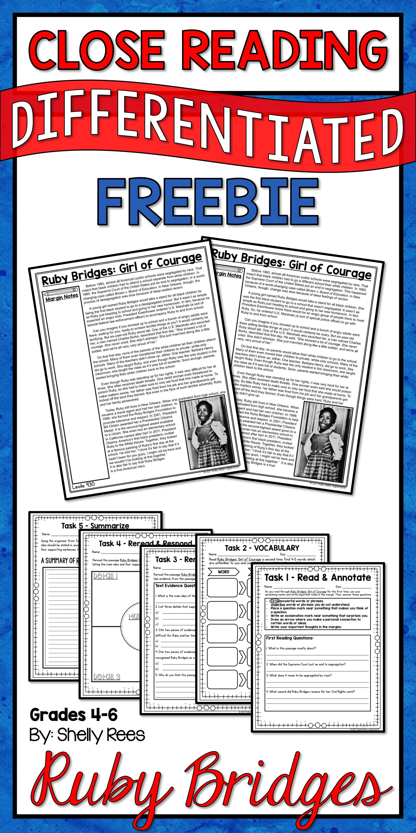 Ruby Bridges Reading Passage Free With Images