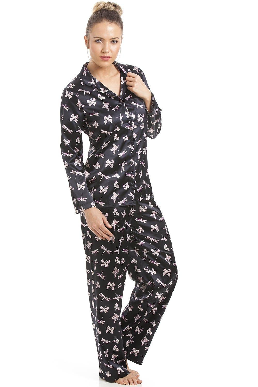 1230e80f57 Black Satin Pyjama Set With Butterfly Print