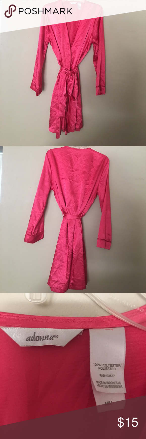 Hot pink robe Silky hot pink robe! Can be steamed before shipping! Adonna Intimates & Sleepwear Robes