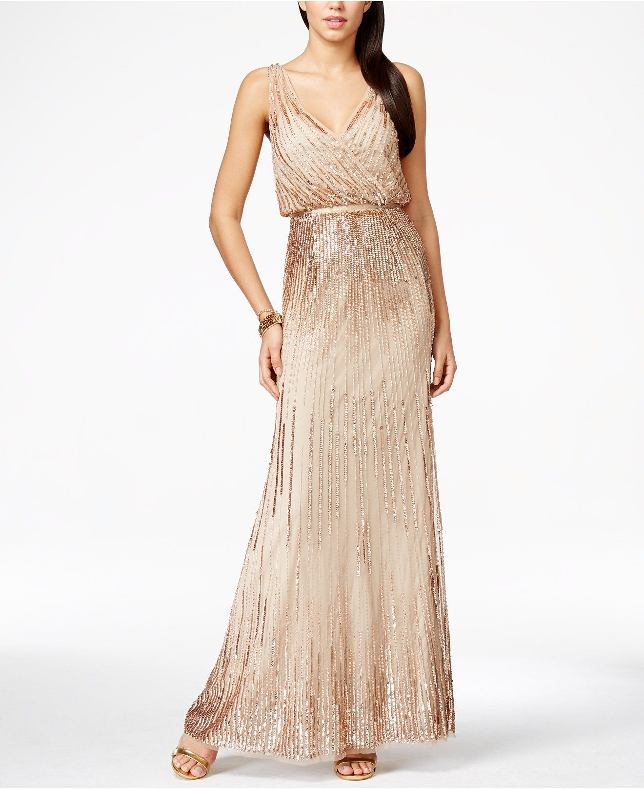 Taken Adrianna Papell Petite Beaded Faux Wrap Gown Dresses