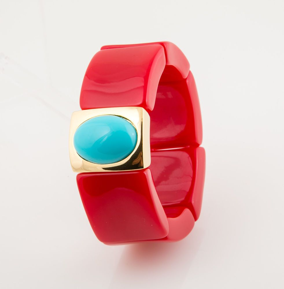 Kenneth Jay Lane Turquoise Overlap Stretch Cuff Turquoise Po3OF96k0D