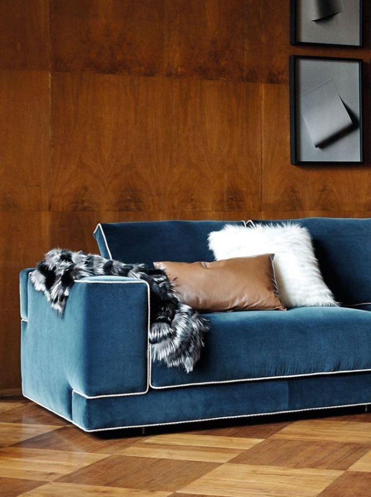 An Unpredictable Interior Design Project Where Blue And White Reign Fendi Casa Sofa Furniture Blue Decor