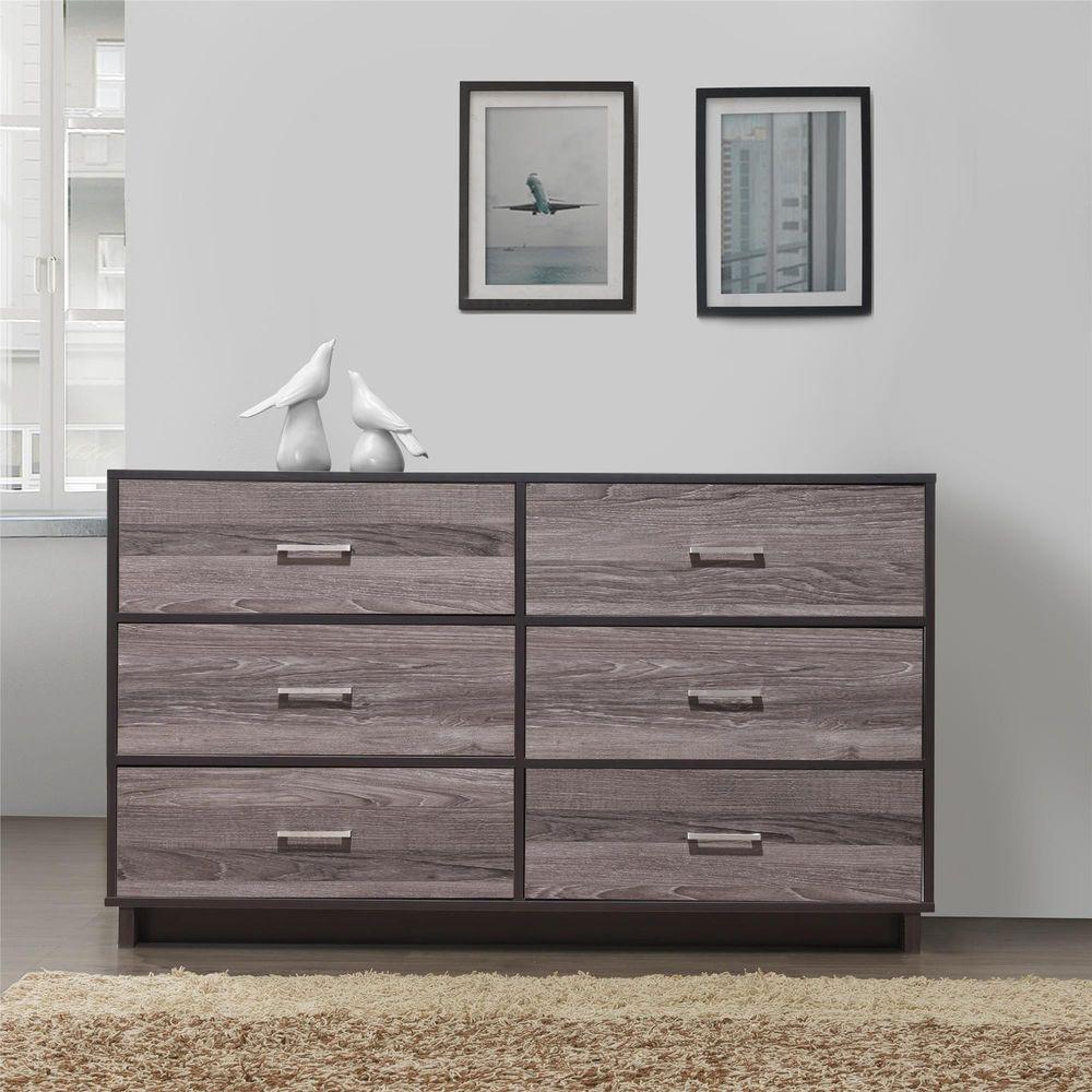 6 drawer dresser wood bedroom furniture clothe storage chest οrganizer espresso wooddrawerdressers contemporary
